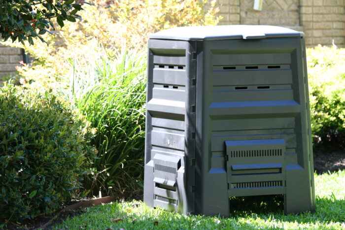 compost bin in a yard