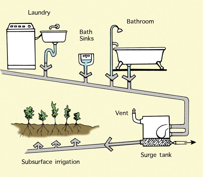 a recycling greywater system in your zero-waste garden