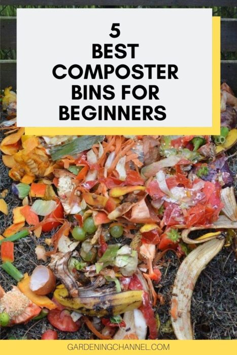 compost in wood compost bin with text overlay five best composter bins for beginners