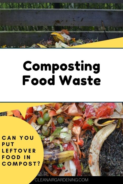 food scraps in compost bin with text overlay composting food waste can you put leftover food in compost