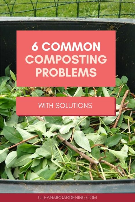 compost yard waste with text overlay six common composting problems with solutions